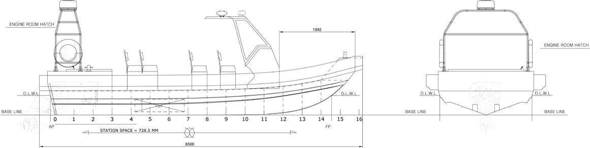 8.5M Class RIB for Philippines Navy PROFILE Blueprint